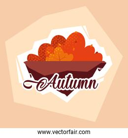 hello autumn poster with bush and leafs