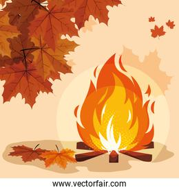 hello autumn poster with campfire and leafs