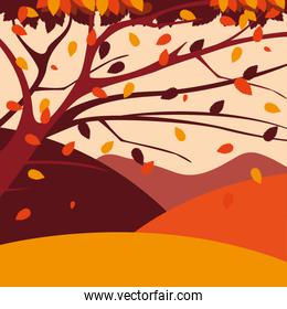 hello autumn poster with tree plant and landscape