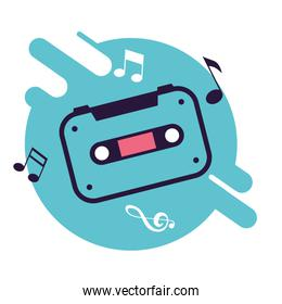 banner with cassette tape music, retro style icon