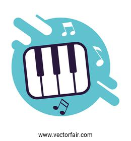 banner with piano keys instrumental music