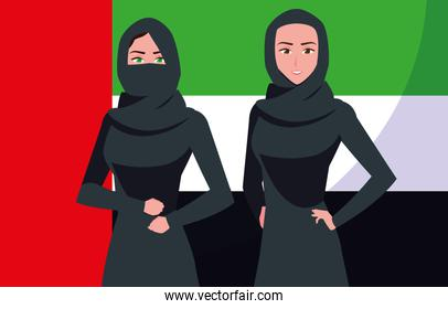emirati women day poster with group of females