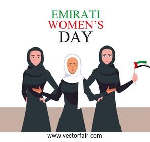 emirati women day poster with females group