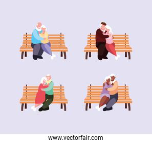 old couples seated in chairs of park