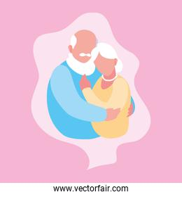 cute old couple hugged in frame