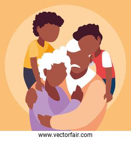 afro old couple hugged with grandchildren