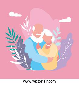 cute old couple hugged with leafs decoration