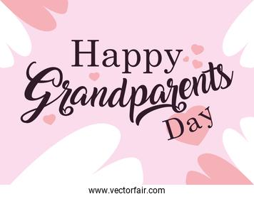 happy grandparents day poster with pattern of hearts
