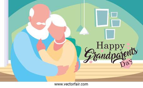 happy grandparents day poster with couple hugged