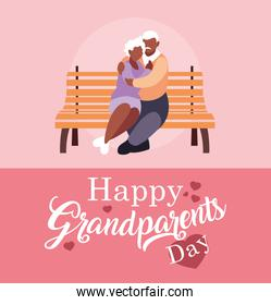 happy grandparents day poster with old couple in park chair