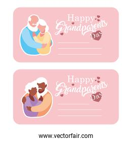 cards of happy grandparents day with couple old hugged