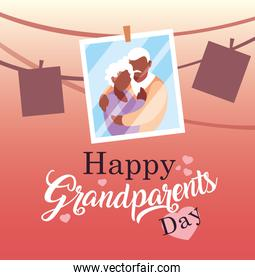 happy grandparents day poster with photo old couple hanging