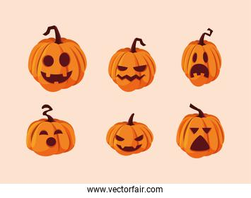 set of halloween pumpkins decoration