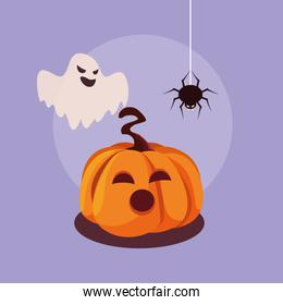 halloween pumpkin with ghost and spider