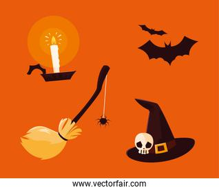 set of objects halloween decoration