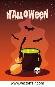 poster of halloween with cauldron and icons
