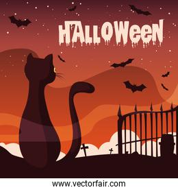 poster of halloween with cat and bats flying