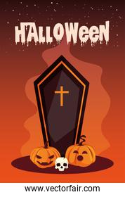 poster of halloween with coffin and icons