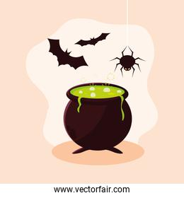 cauldron of halloween with bats flying and spider