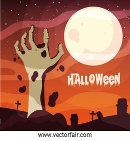 poster of halloween with hand zombie