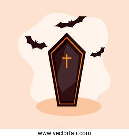 coffin spooky halloween with bats flying
