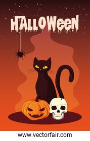 poster of halloween with cat and icons
