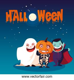 poster of halloween with childrens disguised