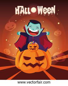 poster halloween with boy disguised of vampire