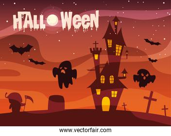 poster of halloween with castle and ghosts
