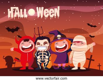 poster of halloween with children disguised