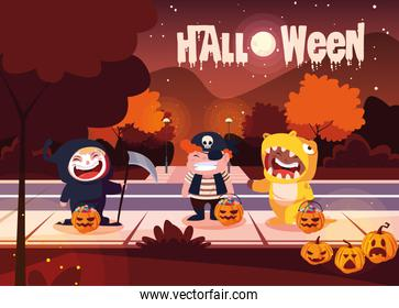 poster of halloween with cute children disguised