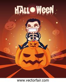 cartel of halloween with boy disguised of skeleton