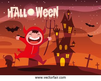 poster of halloween with boy disguised of devil