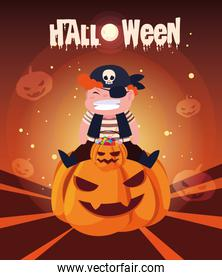 poster of halloween with boy disguised of pirate