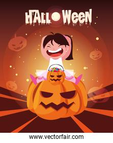 poster of halloween with girl disguised of dancer