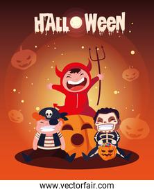poster of halloween with cute kids disguised