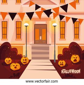 poster of halloween facade house with decoration