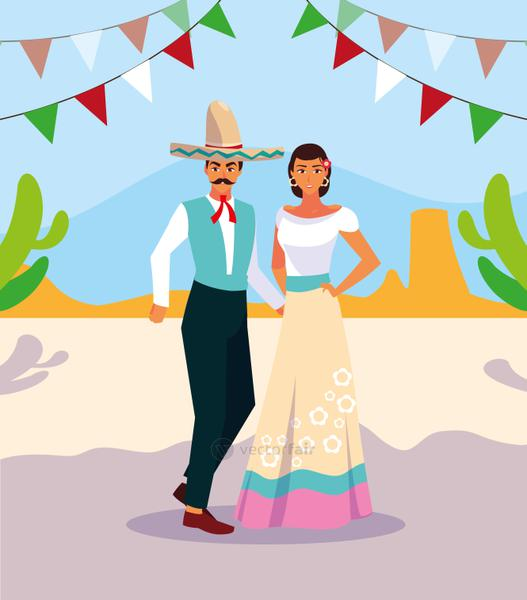 couple of people with typical Mexican costumes
