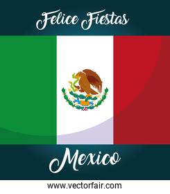 felices fiestas mexico label with Mexican flag