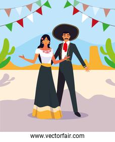 couple of people with mariachi costumes