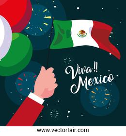 viva mexico label with Mexican flag