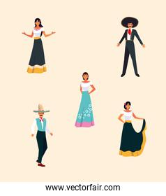 bundle Mexican fiestas with set icons