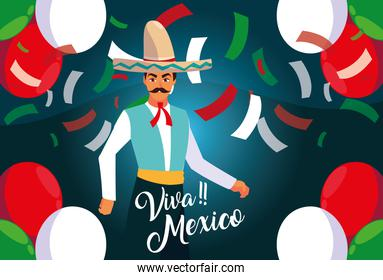 viva mexico label with man with mexican typical costume