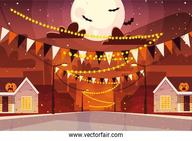 city decorated for halloween celebration