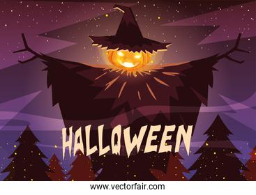 halloween pumpkin with witch hat in halloween scene