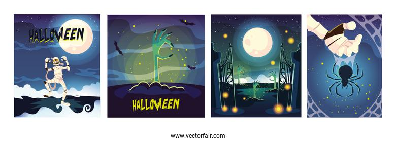set of cards with halloween scenes