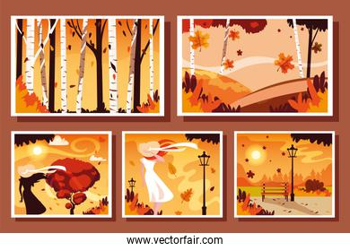 set of cards with autumn landscape scenes