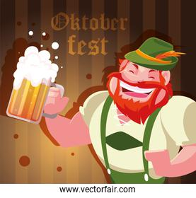 man with german traditional dress and label oktoberfest