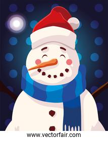 christmas card of snowman with hat and scarf