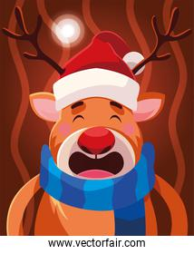 christmas card of reindeer with hat and scarf